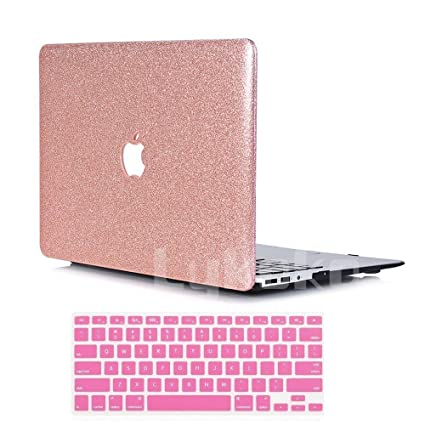 meet 18012 83c0e Lykoko Hard Protective Case Shell with Keyboard Cover for MacBook Air 11  Inch (Models: A1370 and A1465) (Rose Gold Leahter Glitter)
