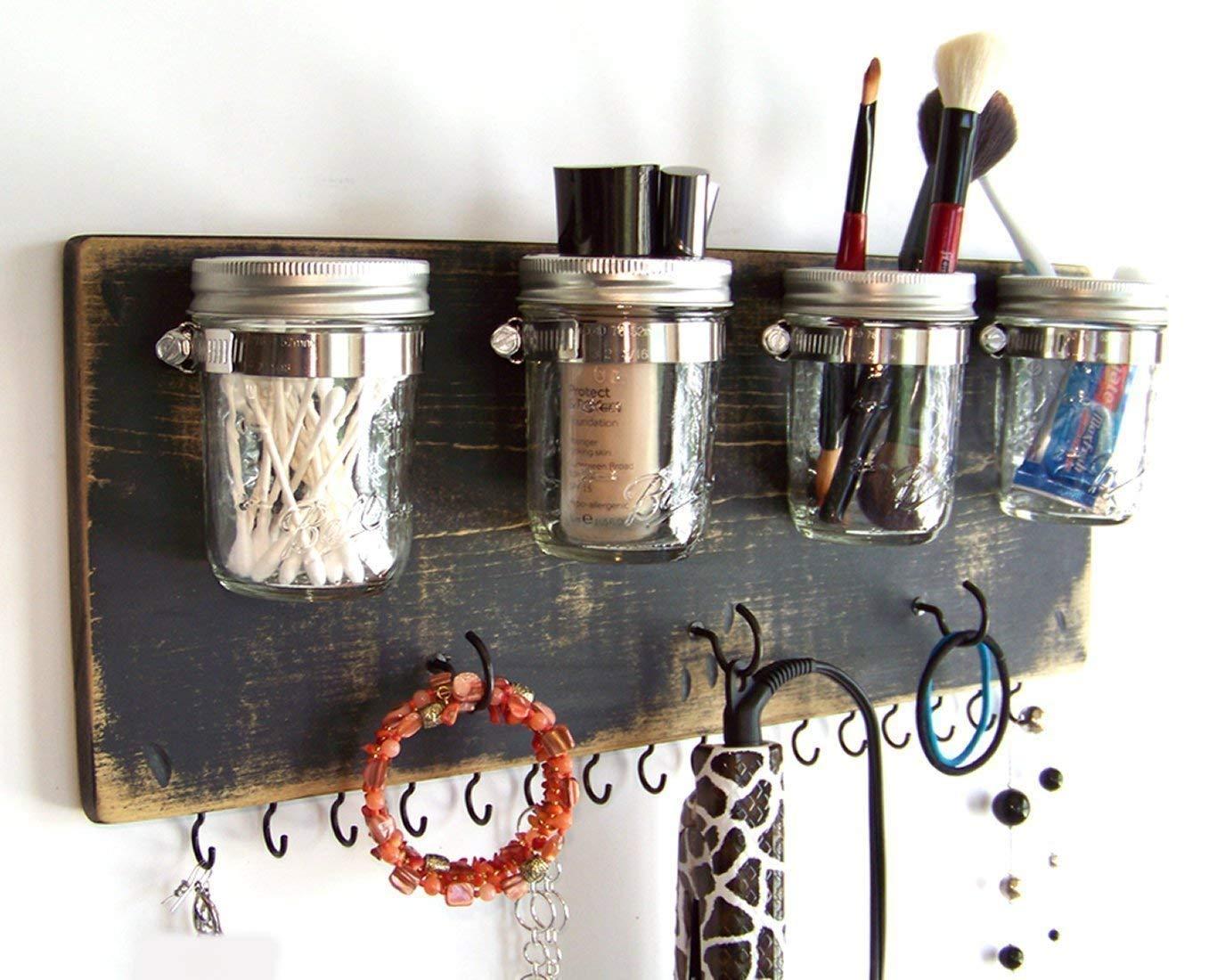 Farmhouse Decor Bathroom Storage by Out Back Craft Shack: Hair Accessory Organizer with Mason Jars