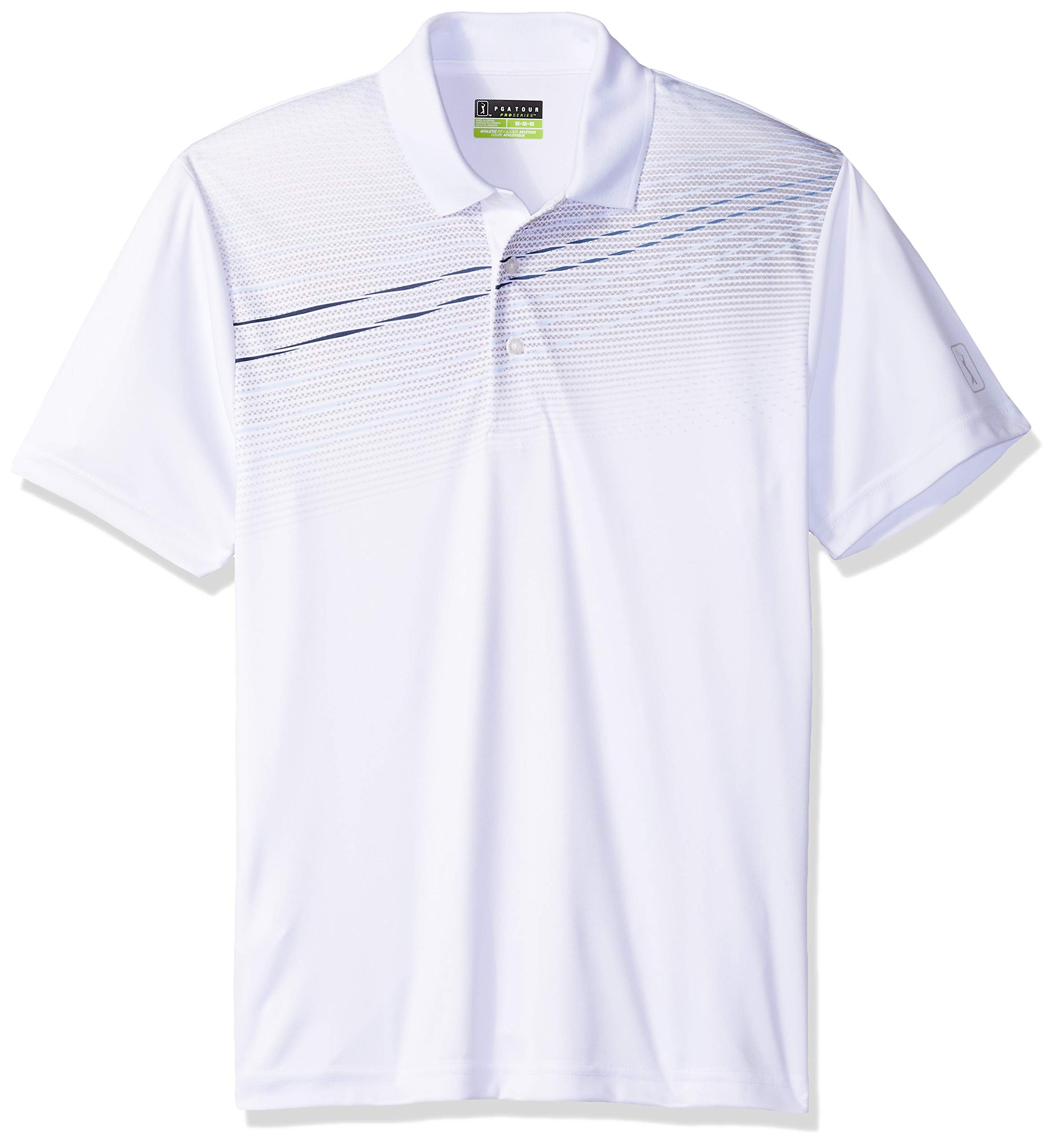 PGA TOUR Men's Short Sleeve Gradient Wave Mini Texture Print Polo Shirt, Bright White, Medium