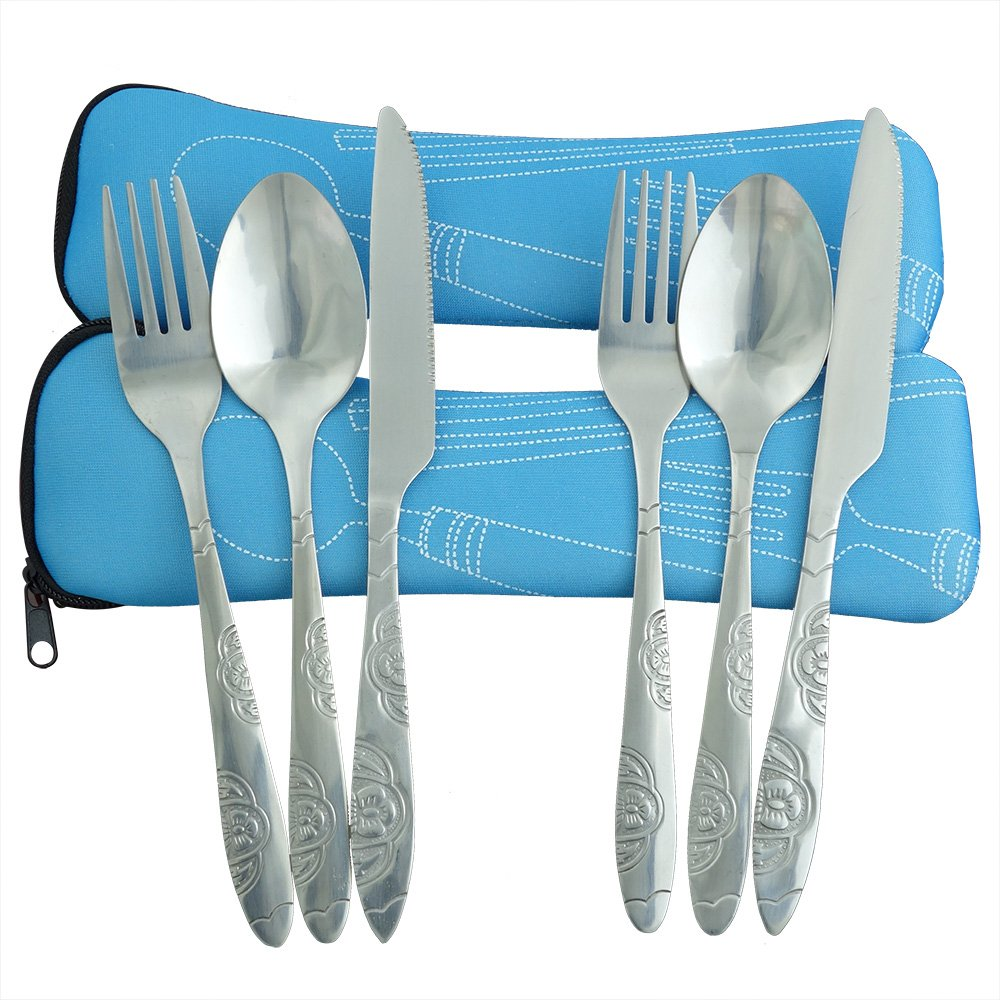 Camping Cutlery Utensils Set of Military Grade Stainless Steel Fork, Spoon and Knife