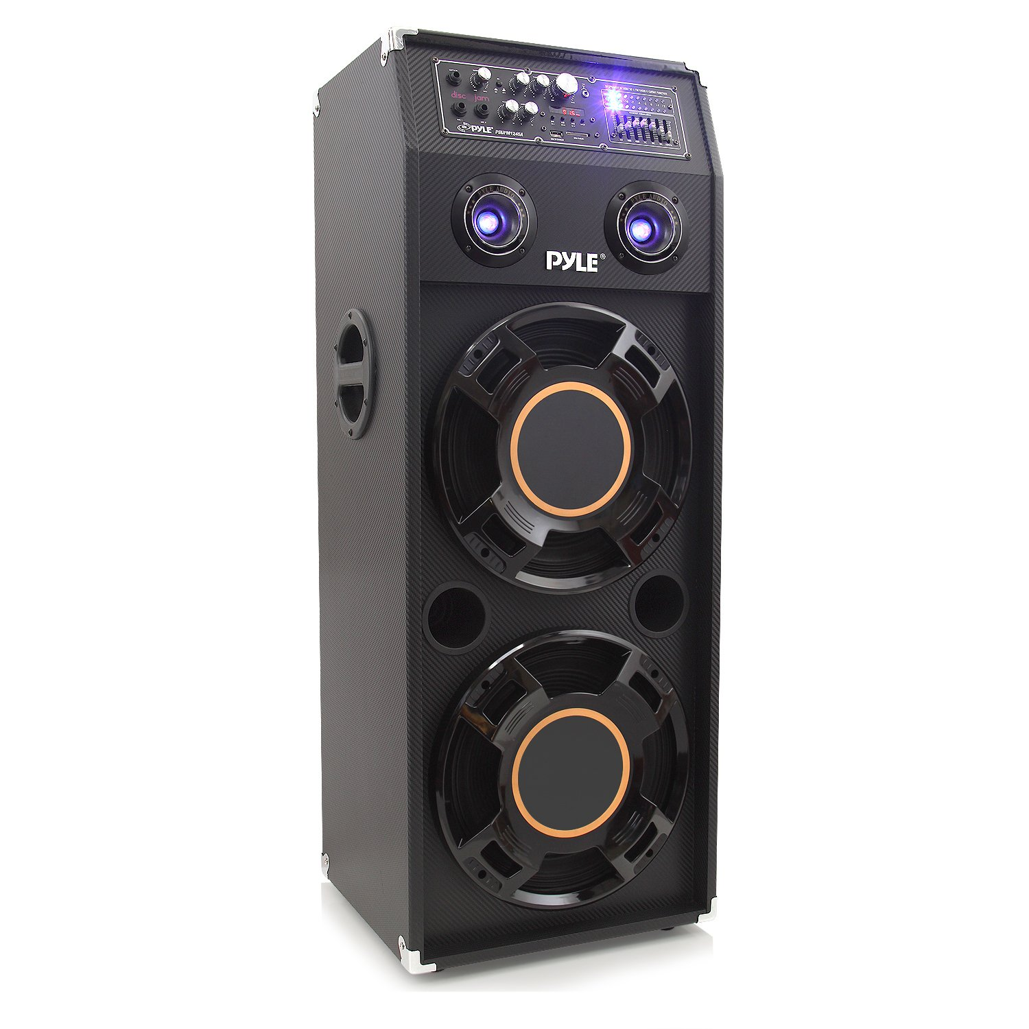 Portable DJ Dance Speaker System - Two-Way PA Stereo 1400 Watts w/ Dual 12'' Subwoofer Built-in LED Flashing Lights RCA Stereo Output Crossover Network & MP3/USB/Micro SD/FM Radio - Pyle PSUFM1245A by Pyle