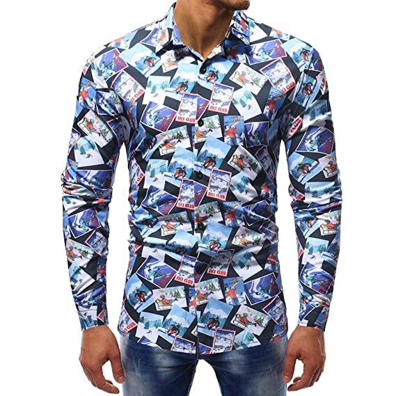 6f4c5d297027 Hemd Herren Slim Fit   Sannysis Männer Freizeithemd Bedruckte Bluse Lässige  Long Sleeve Shirts  Hemden