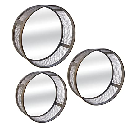 VIP Home And Garden Metal Mirrors, Gray (Set Of 3)