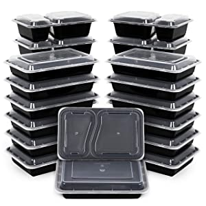 Kootek [26 Pack] Meal Prep Containers with Lids (30oz & 35oz), 2 & 1 Compartment Food Storage Sets BPA Free Lunch Case Durable Stackable Bento Boxes, Microwaveable, Dishwasher and Freezer Safe