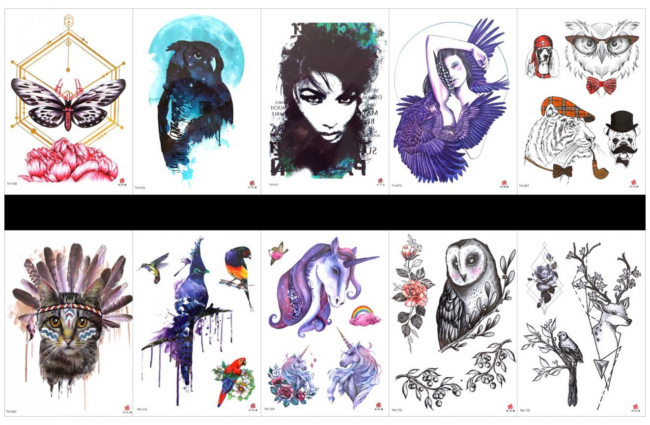 SPESTYLE 10pcs tattoo cat tattoos waterproof and non toxic real fake tattoos in 1 packages,including beautiful lady,lady with wings,angel,tiger,dog,owl,cat,parrot,horse,etc.