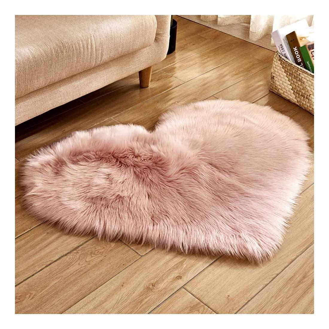 HEVÜY Teppich Heart-Shaped, Langflor Modern Teppiche fürs Wohnzimmer, Schlafzimmer, Esszimmer oder Kinderzimmer, Größe: 30x40 cm (Rosa)