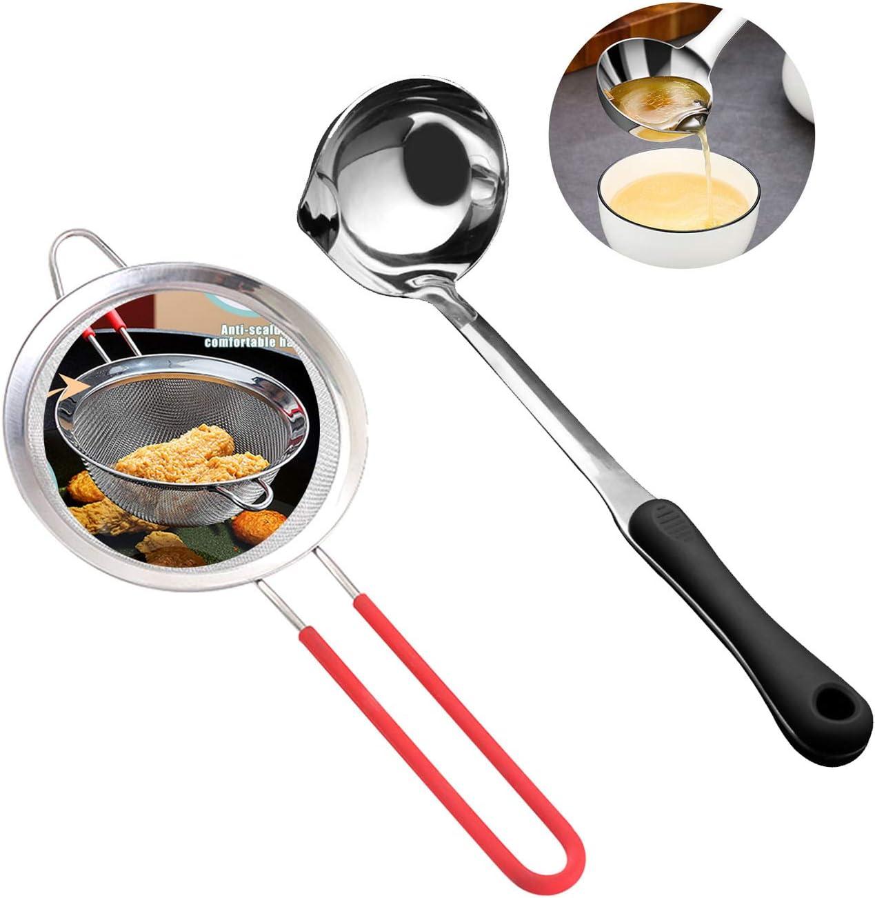 Fantakit 2 Set of Stainless Steel Mesh Food Juice Skimmer Strainer Ladle for Home Kitchen Soup Oil Separation Skimmer Slotted Spoon