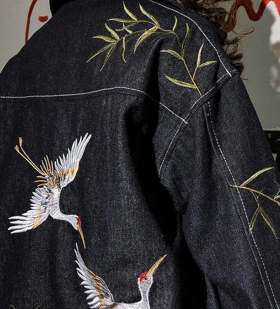 SCOFEEL Womens Embroidered Denim Jacket Oblique Boyfriend Style Jean Coat