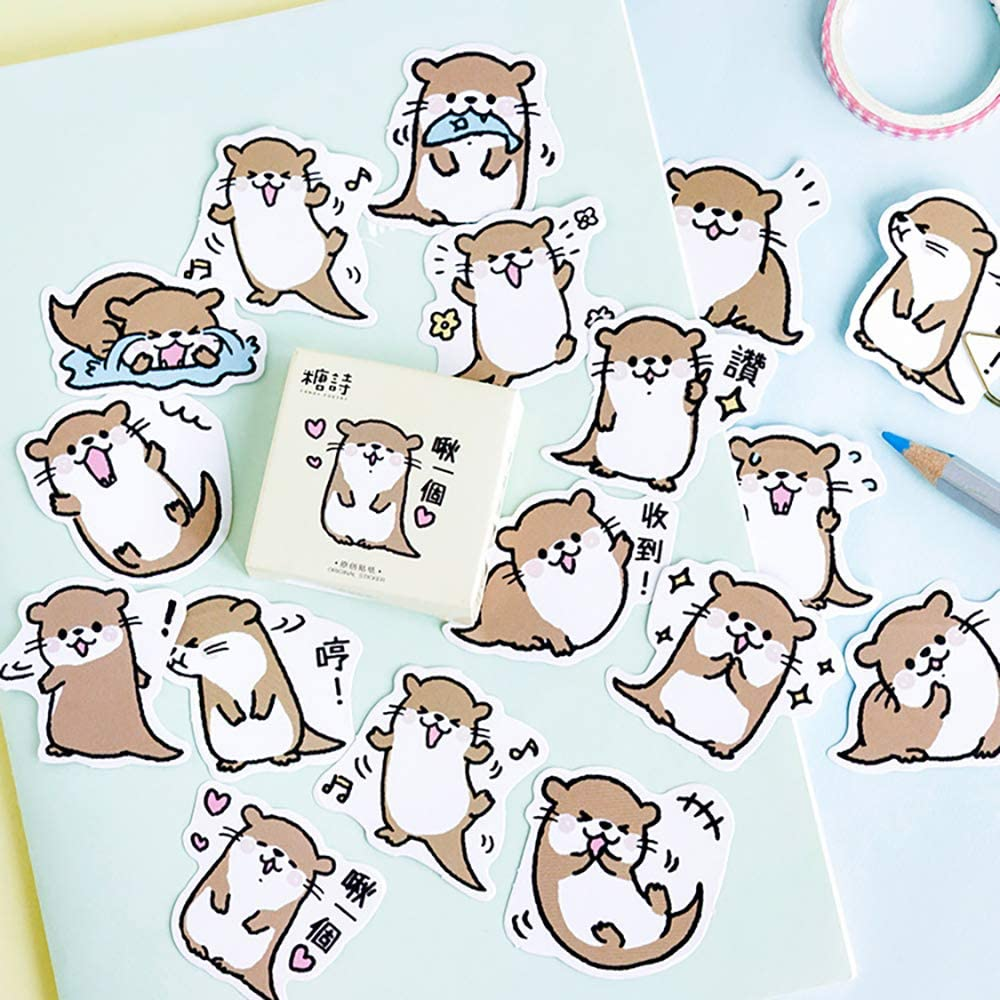 Small Size Laptop Stickers, 45pcs Doraking Boxed DIY Decoration Otter Theme Stickers for Laptop, Planners, Scrapbook (Otter)