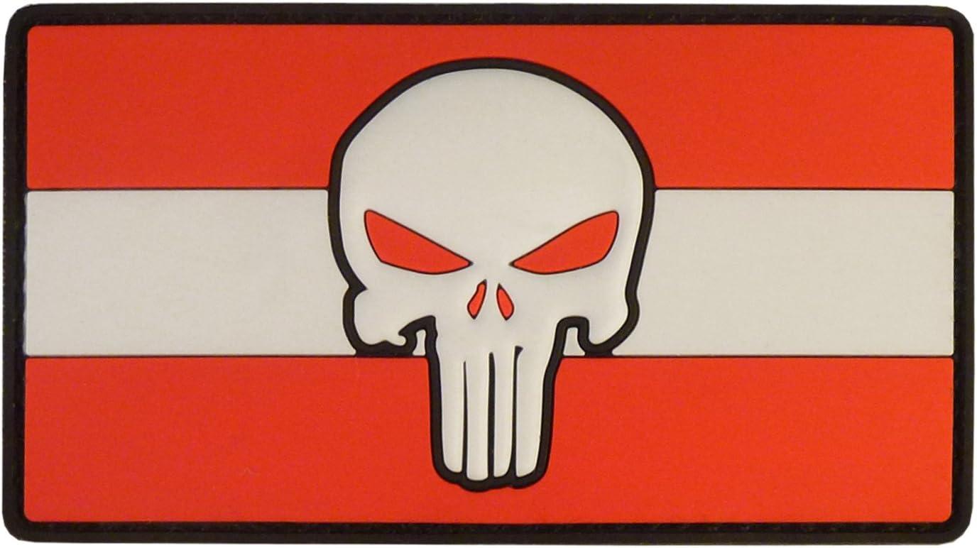 2after1 Punisher Skull Austria Österreich Flag Morale Tactical Combat Pvc Rubber Touch Fastener Patch Sport Freizeit