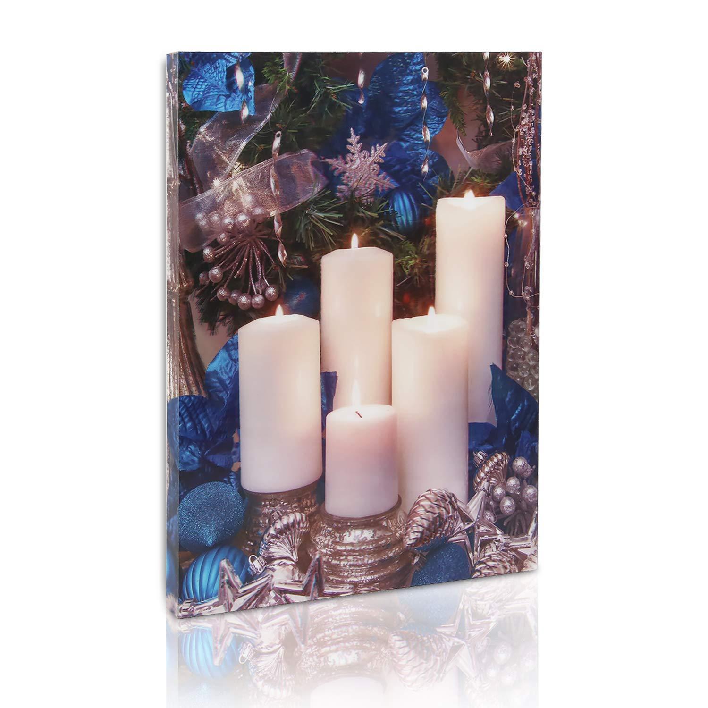 simpdecor Lighted Framed Wall Art,Christmas Decor Lighted Pillar Flameless Candle,Modern Wall Decor for spa Setting/Living Room - 12'' x 16'' (Blue)