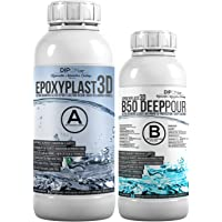 1,5 KG EpoxyPlast 3D B50 DEEP POUR Epoxyhars, Ultra Diamond Clear, Maximum UV-Weerstandsvermogen, Riviertafel, Sieraden…