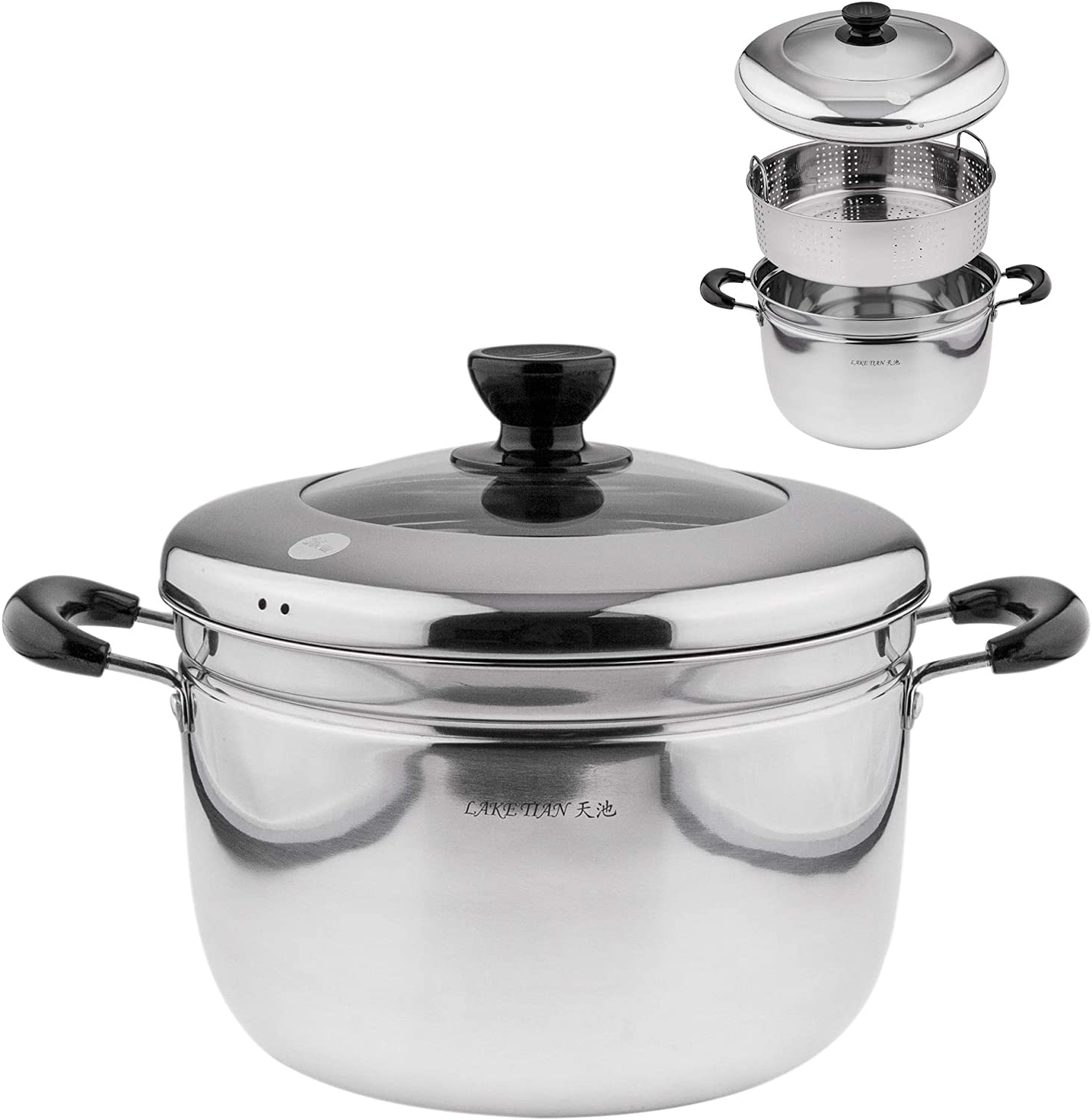 Single Stainless Steel Steamer Pot Cookware Pot, Vegetable Steamer with Insert Steamer Basket, Great Steamer For Cooking Food, Tempered Glass Lid, Dishwasher Safe By Lake Tian (26cm/10.2in)