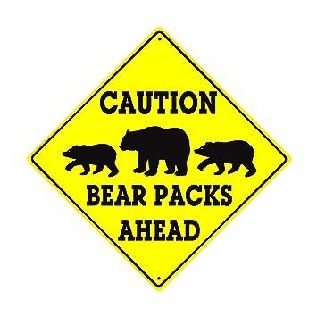 Amazon.com: Caution Bear Packs Ahead Crossing Xing Wildlife Animal ...