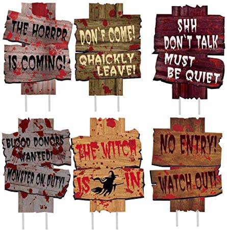 5 Different Signs Spooky Wooden Signs NEW! Creepy Halloween Decor