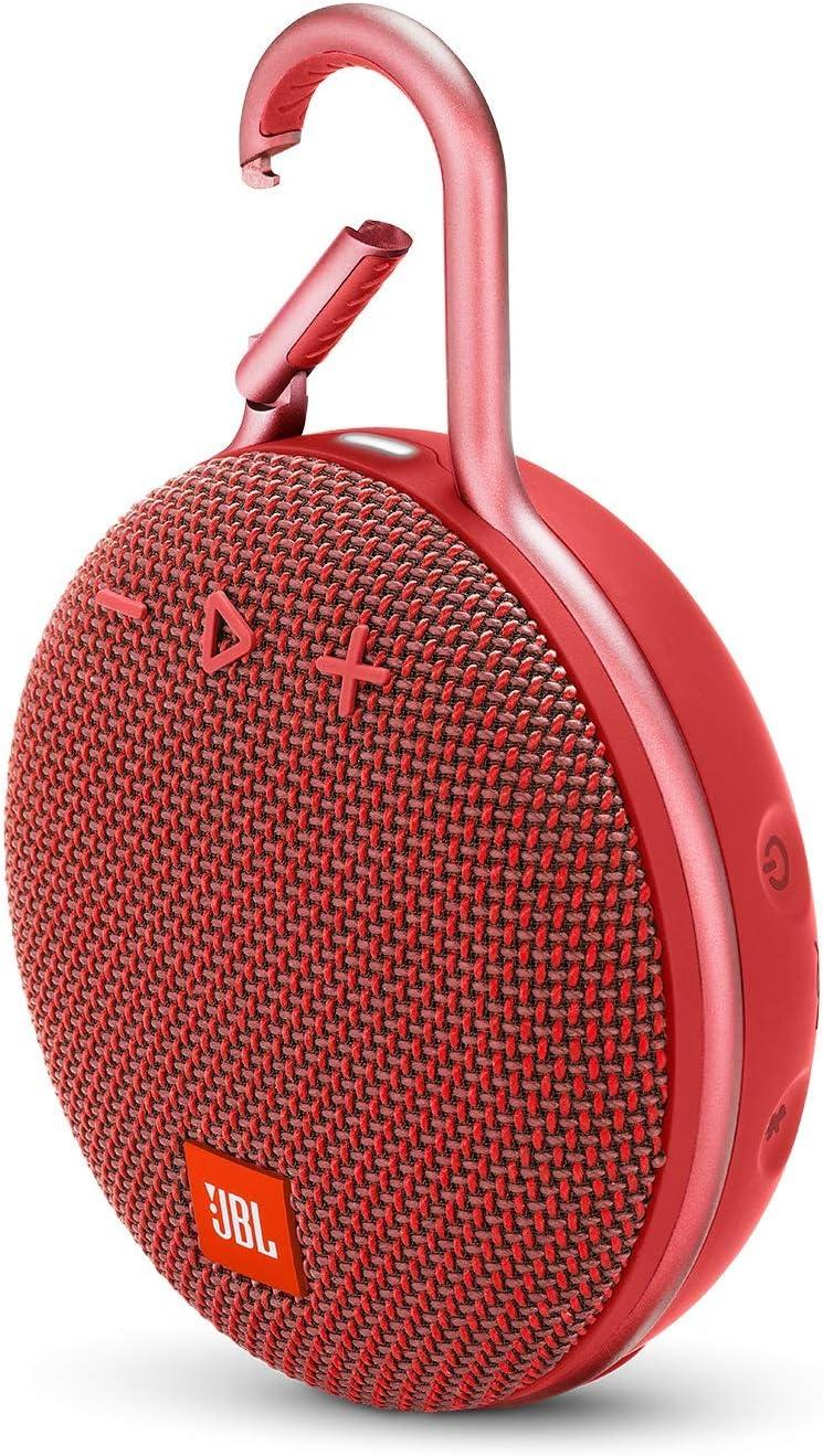 JBL Clip 3 - Altavoz inalámbrico portátil impermeable con Bluetooth, color rojo