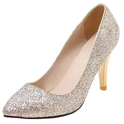 AIYOUMEI Damen Chunky Heel Glitzer Pumps mit 4cm Absatz Bequem Modern Slip on Schuhe qtDfeMqQ