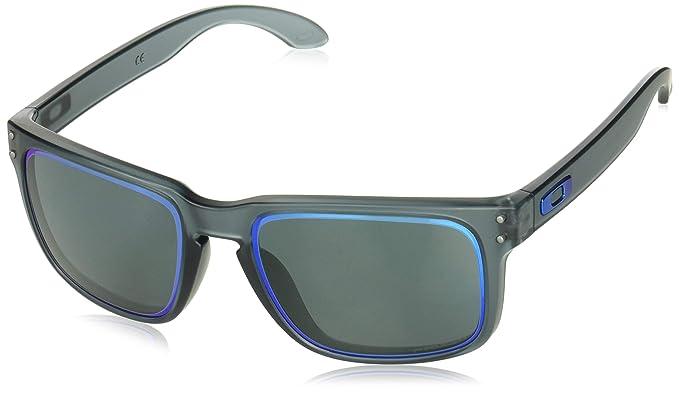 1ba002951278d Óculos Oakley OO9102 9102G9 Cinza Translúcido Lente Cinza Safira Prizm  Iridium Tam 55