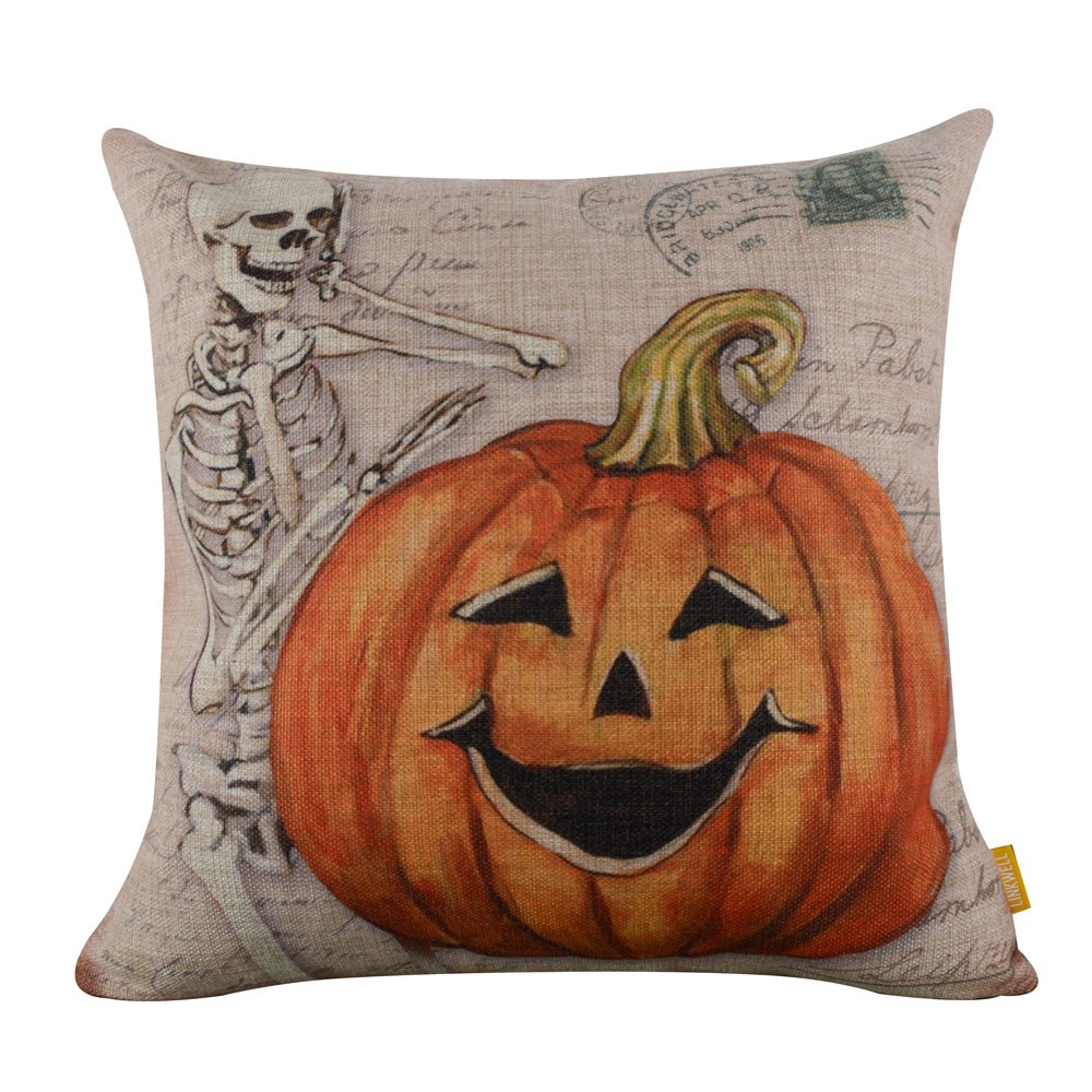 Retro Skull Ghost with Pumpkin Burlap Cushion Covers Pillow