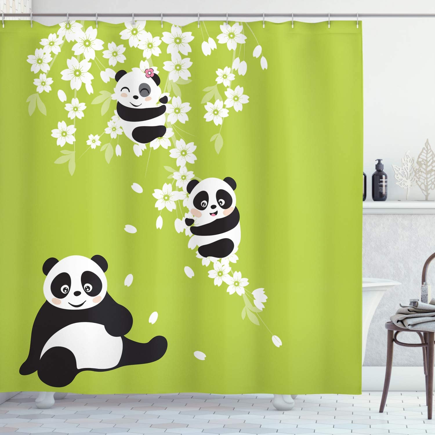Ambesonne Panda Shower Curtain, Baby Panda Bears in Cherry Bloom Tree Branches with Mom Under The Tree Cartoon, Cloth Fabric Bathroom Decor Set with Hooks, 70
