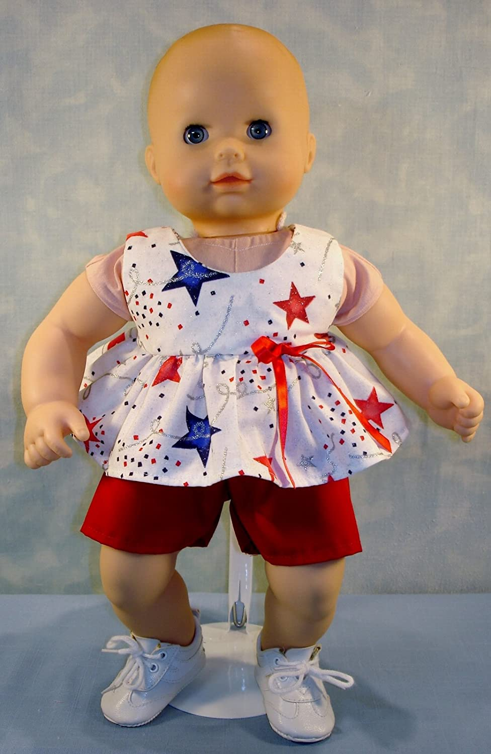 15 Inch Doll Clothes - 4th of July Stars and Confetti with Red Shorts Outfit handmade by Jane Ellen