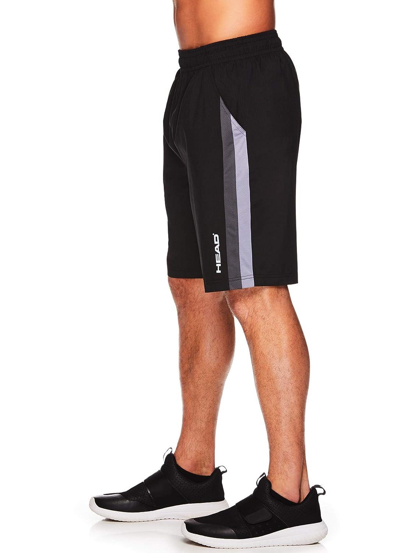 HEAD Mens Break Point Mesh Insert Workout Gym /& Running Shorts w// Elastic Waistband /& Drawstring