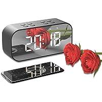 TECHVIDA Digital Alarm Clock Bluetooth Speaker, Stereo Wireless Portable Speaker Bluetooth 5.0 Built-in Microphone Alarm…