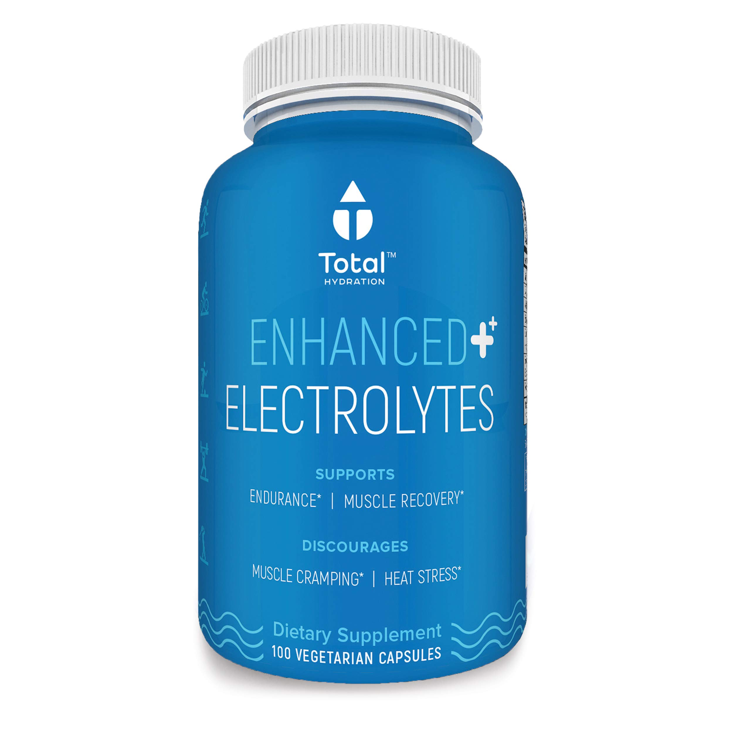 Electrolyte Capsules, Natural Replacement Rehydration Salts W/Magnesium, Zinc, Calcium & Sodium, Aids Rapid Rehydration & Recovery from Exercise While Preventing Cramps, 100 Hydration Tablets by Total Hydration