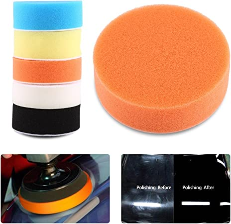 Terisass 5 Pcs Car Cleaning Pads Sponge Polishing Pad Car Care Polisher Sponge Buffing Pad Sponge Polishing Buffing Waxing Pad Polisher Buffer Pads Kit Tool for Car Polisher Buffer 4 Inch