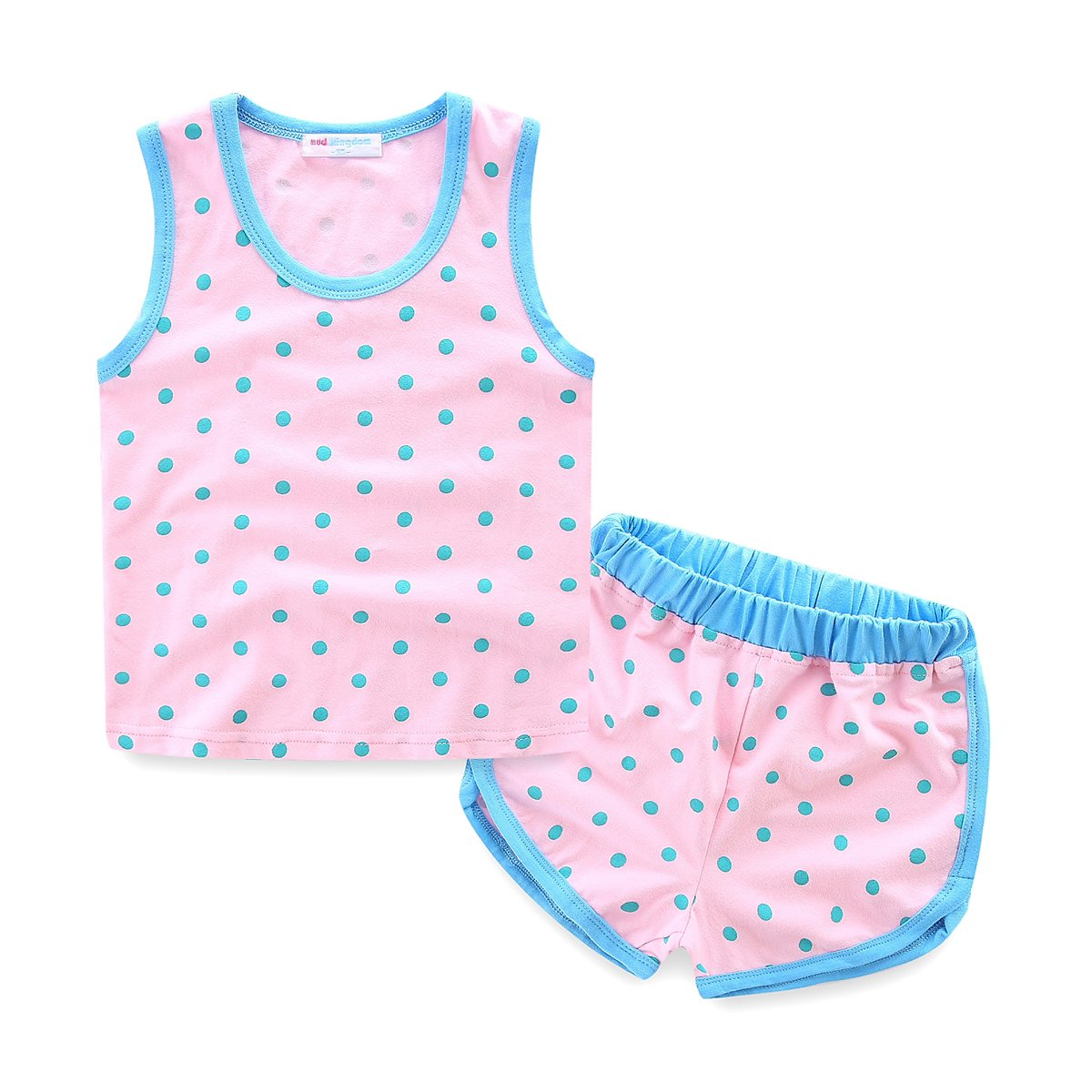 Mud Kingdom Girls Outfits Polka Dot Tank Top and Short Clothes Sets Holiday Size 6 Light Pink