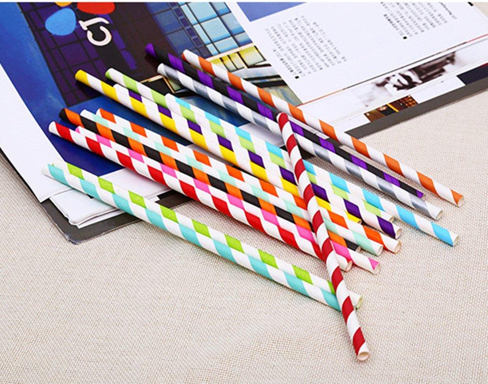 Joyfeel acheter Lot de 25/pailles Plastique papier Rayures pailles potable tubes d/écoratifs pailles pour f/ête//mariage//anniversaire Dor/é