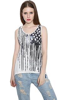 c85f8f67ebece3 REINDEAR Fashion Women Patriotic American Flag Print Lace Camisole Tank Top  US Seller
