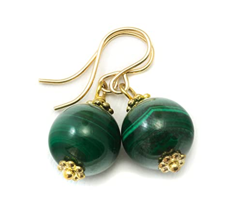 14k Gold Filled Malachite Earrings Green Round Smooth Simple Drops Striped Banding