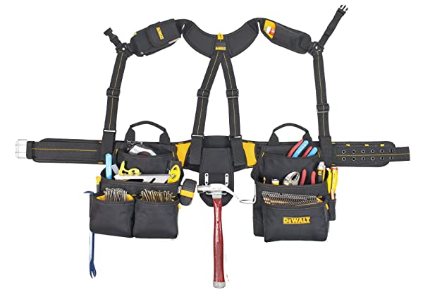 DEWALT DG5617 20-Pocket Pro Framer's Combo Apron Tool Belt and Yoke-style Suspenders (Color: Black, Tamaño: Pockets On Suspenders)