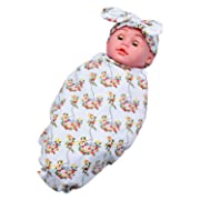 Bigface Up Newborn Baby Receiving Blanket with Headband Floral Swaddle White Big Flower