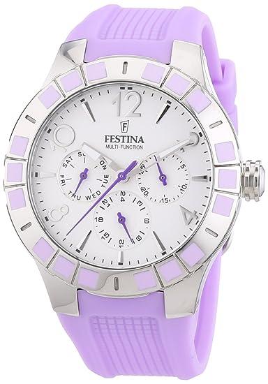 Festina F16675/2 - Reloj de pulsera mujer, caucho, color morado: Festina: Amazon.es: Relojes
