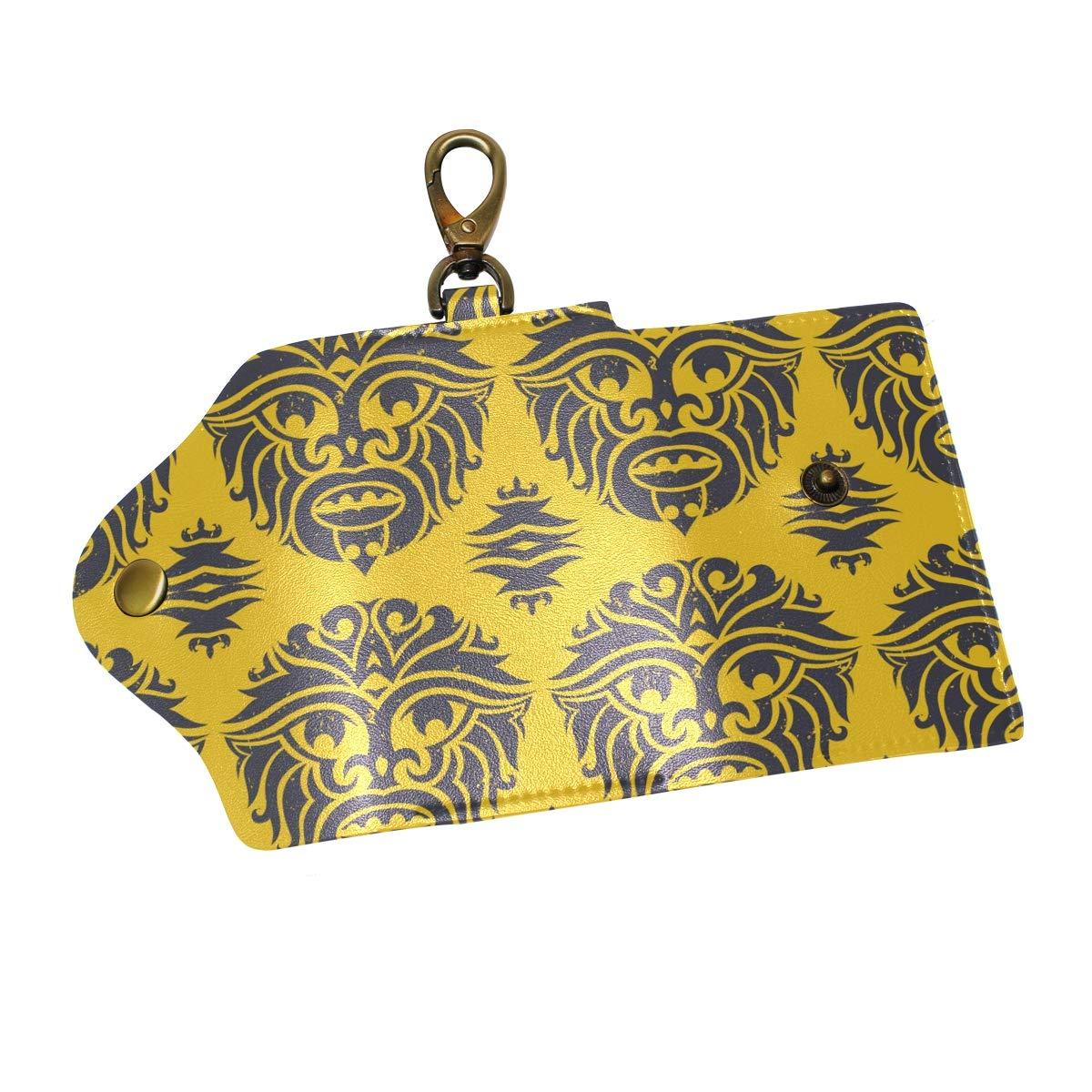 KEAKIA Tribal Monkey Mask Leather Key Case Wallets Tri-fold Key Holder Keychains with 6 Hooks 2 Slot Snap Closure for Men Women