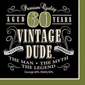 Creative Converting 16 Count Vintage Dude 60th Birthday Lunch Napkins - 661667