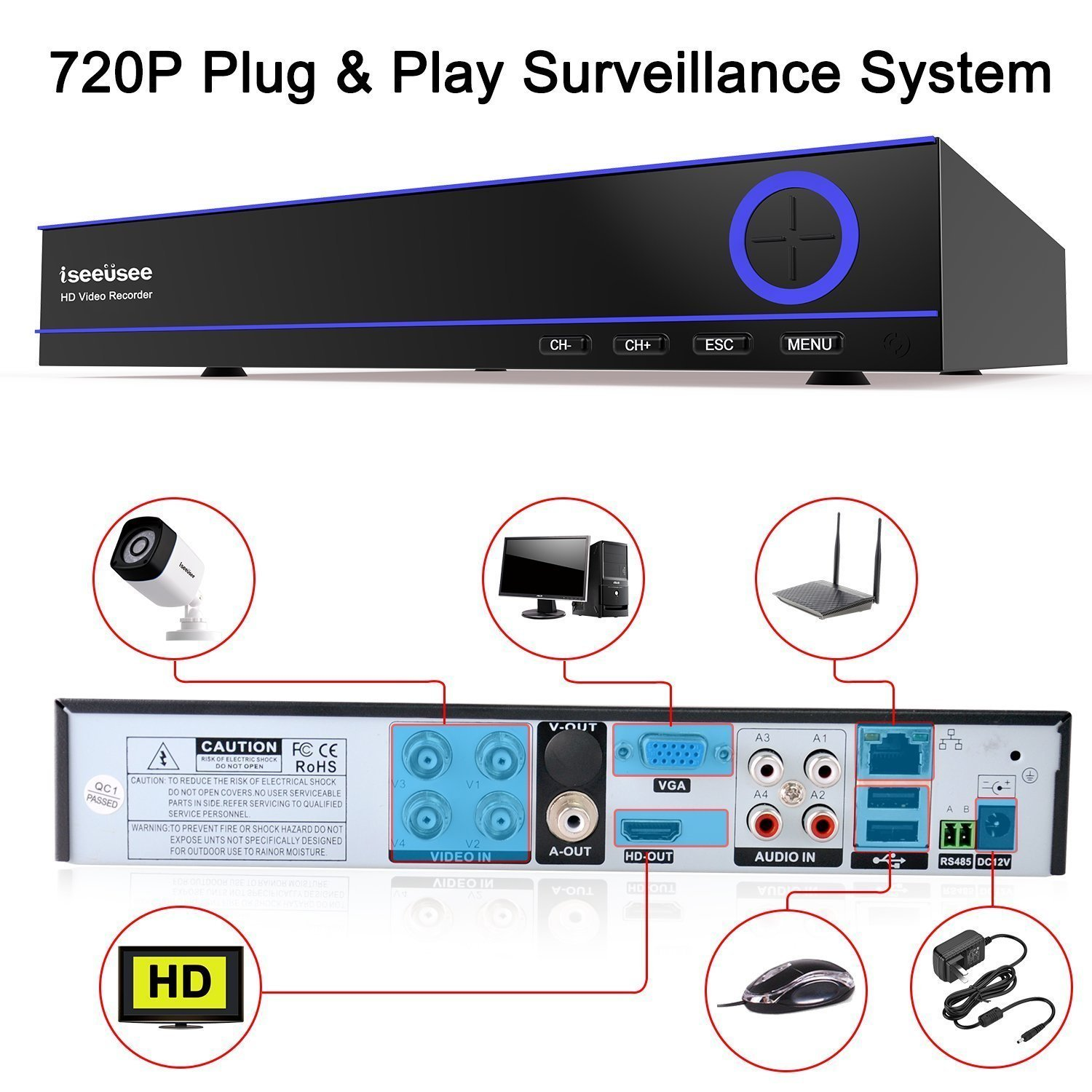 ISEEUSEE Security Camera 4CH 1080N Surveillance DVR System and (4) 720P 2.0MP HD-TVI Weatherproof CCTV Cameras, with Remote Access, Motion Detection-NO HDD by ISEEUSEE (Image #2)