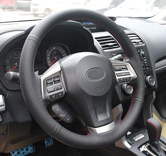 DIY coche funda para volante de piel auténtica para Subaru Impreza 2013 2014 2015 2016/legado 2012 - 2014/Subaru Forester 2014 - 2016/Outback 2012 - 2014/XV ...