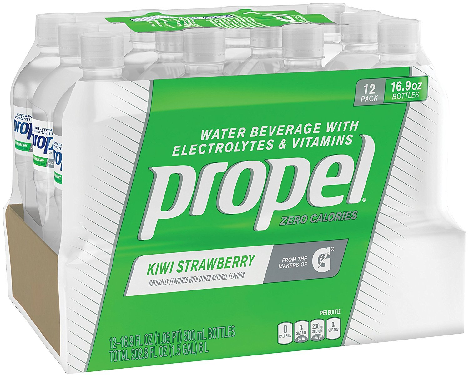 Propel, Kiwi Strawberry, Zero Calorie Sports Drinking Water with Antioxidant Vitamins C & E, 16.9 Ounce Bottles, 48 Count