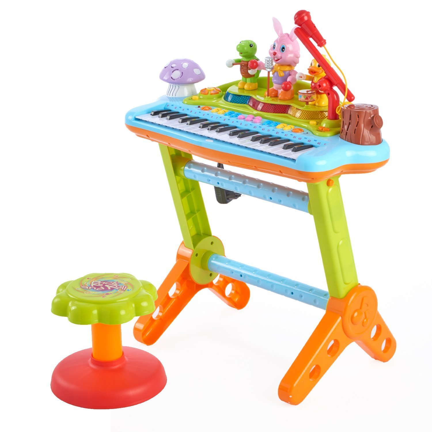 Woby Musical Kids Electronic Keyboard kids Piano 37 Keys with Microphone Musical toy Keyboard Instrument Stool