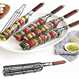 DATON Kabob Grilling Baskets Nonstick Grill Baskets for Outdoor Grilling with Handle for Vegetable Onion Fish Chicken and Mea