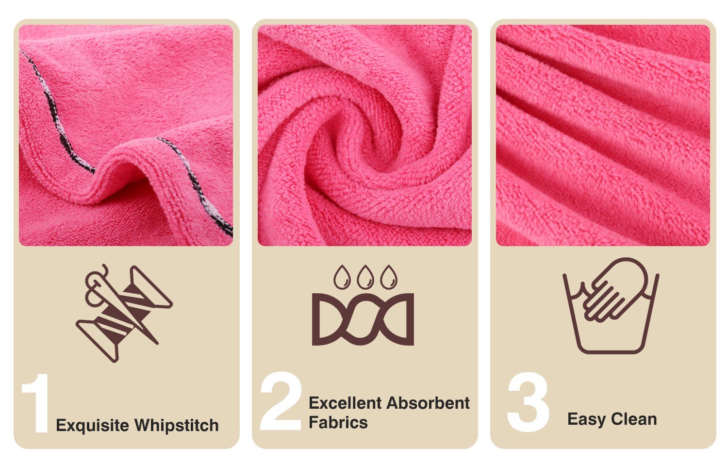 Luxspire 2 Pack Microfiber Hair Drying Towels, Fast Drying Hair Cap, Long Hair Wrap Turban, Bath Shower Head Towel with Buttons, Super Water-absorbent, Blue & Rose Red by Luxspire (Image #4)