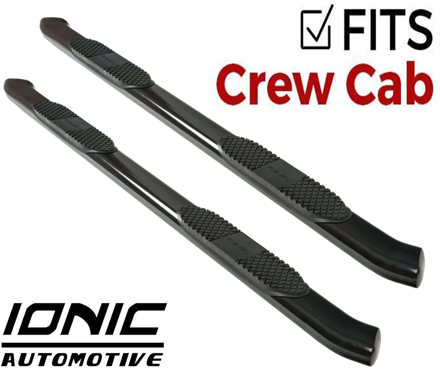 """Ionic 5"""" Black Steel Curved Nerf Bars (fits) 2009-2018 Dodge Ram Crew Cab Only Truck Side Steps (423309BP)"""