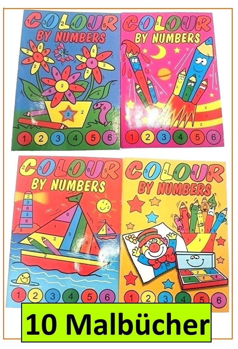 10 Malbücher Malen nach Zahlen Mini-Malbuch 148 x 105 mm Mitgebsel ...
