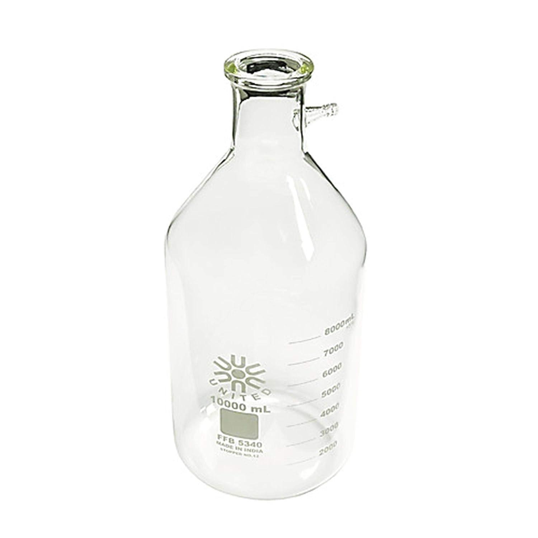 United Scientific Supplies FFB5340-10000 Borosilicate Glass Filtering Bottle/Flask, 10000 ml Capacity