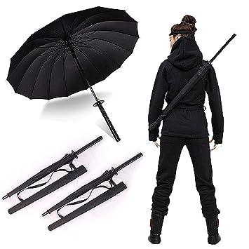 38 cm de altura 2 negro Samurai Ninja Katana paraguas Samurai Swords paraguas mango Creative resistente
