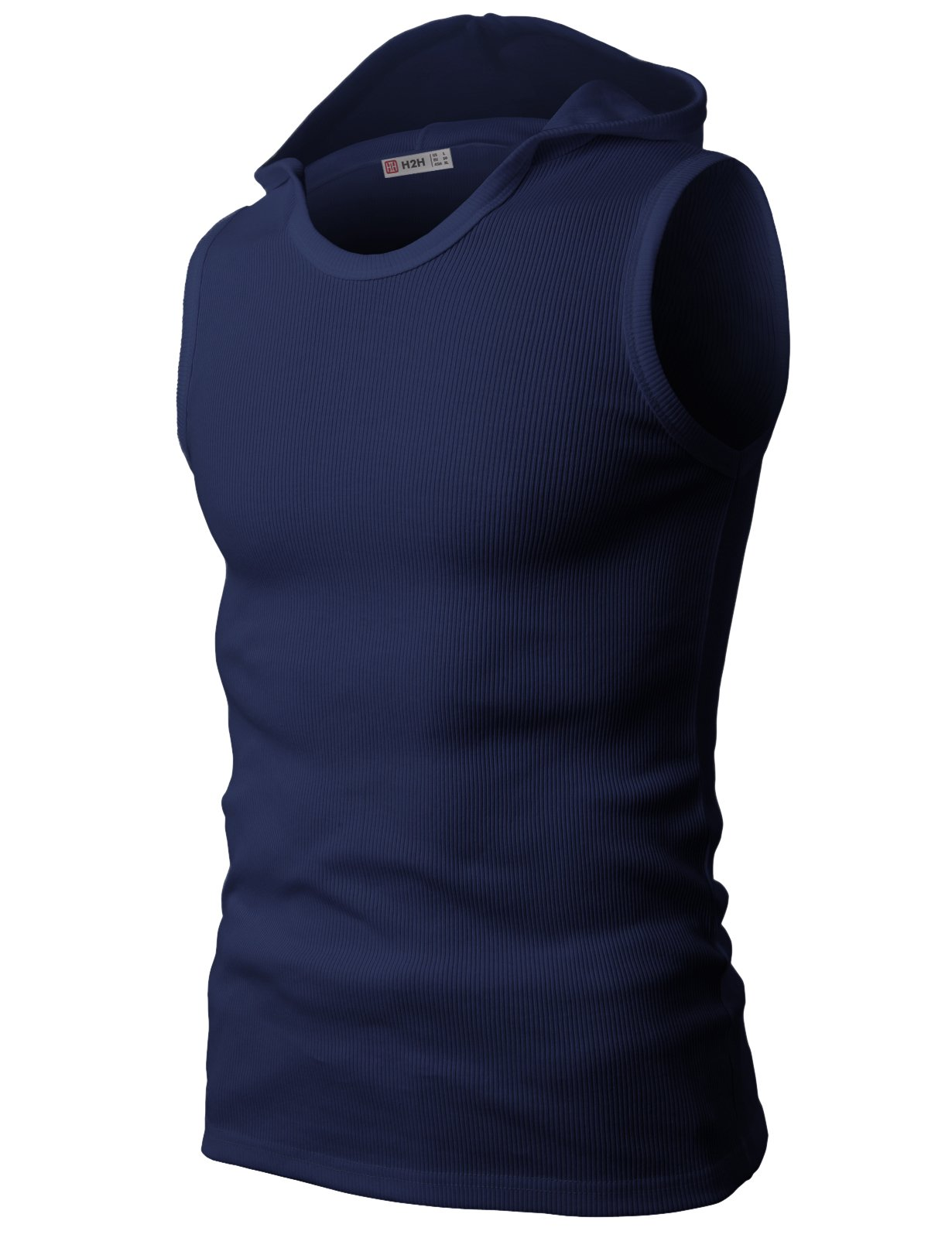 H2H Mens Easy-to-wear Active Wear Hooded Sleeveless T-Shirts Navy US S/Asia M (JPSK05)