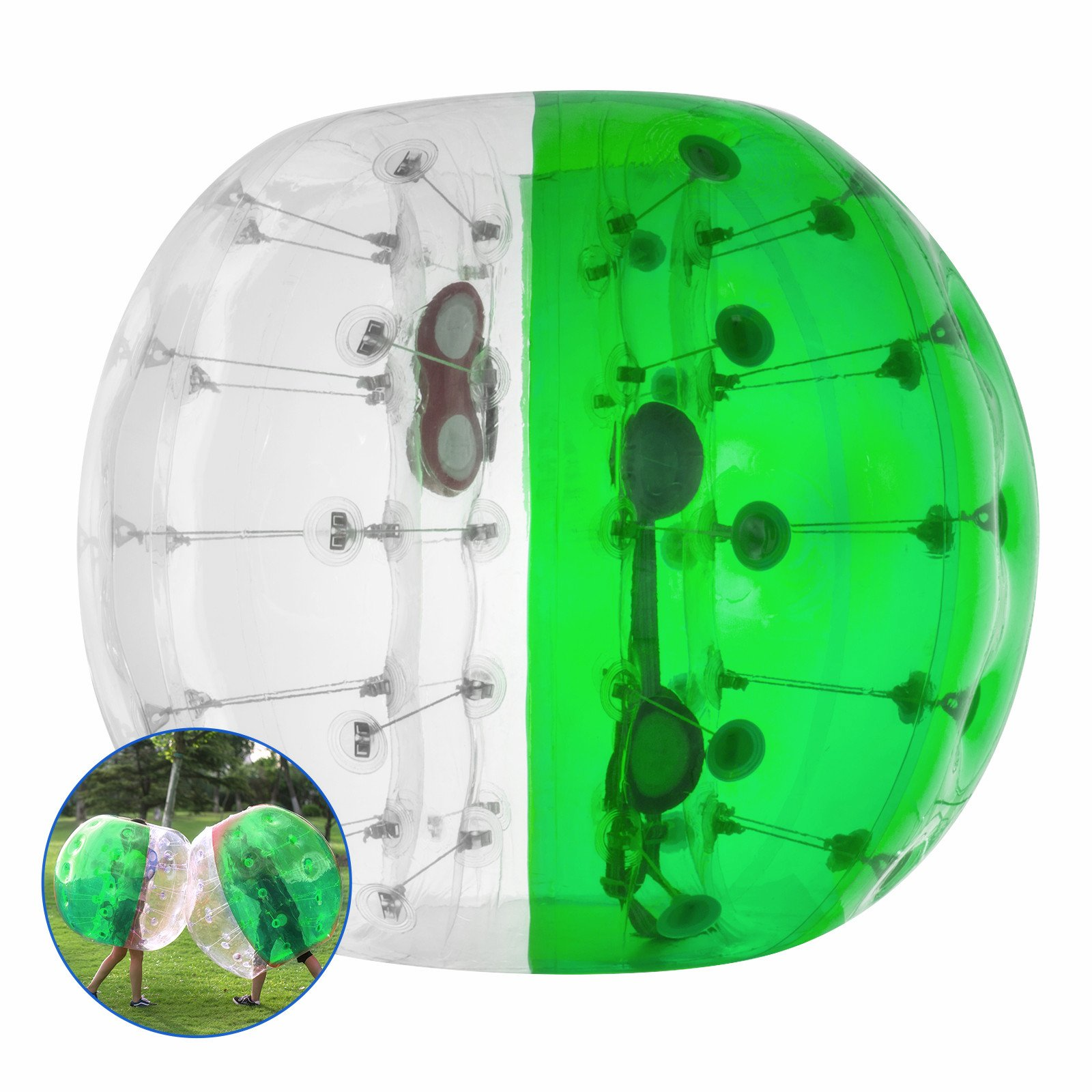 Popsport Inflatable Bumper Ball 4FT/5FT Bubble Soccer Ball 0.8mm Eco-Friendly PVC Zorb Ball Human Hamster Ball for Adults and Kids (5FT Half Green)